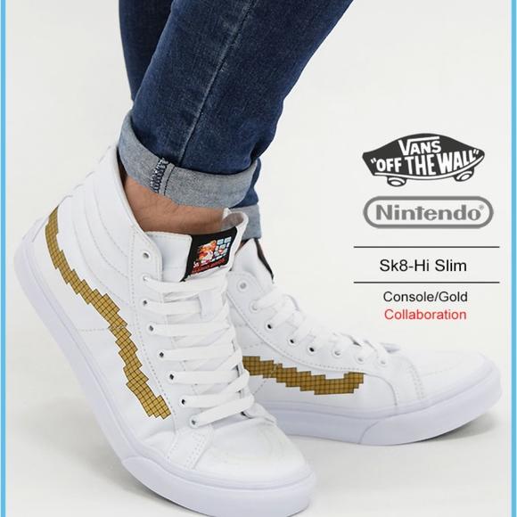 d78a5789b8 Vans Nintendo Console Gold Slim Sk8-Hi Shoes